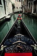 Gondola on canal, Venice, Italy.