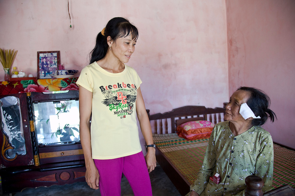 Vo Thi Sao 81 from Cat Hai Community in Chanhoai village Phu Cat District in Binh Dinh Province..Daughter Ha Thi Houng 40 takes her and returns to the village with her..Duong Dinh 87 comes to see her when she returns from surgery.