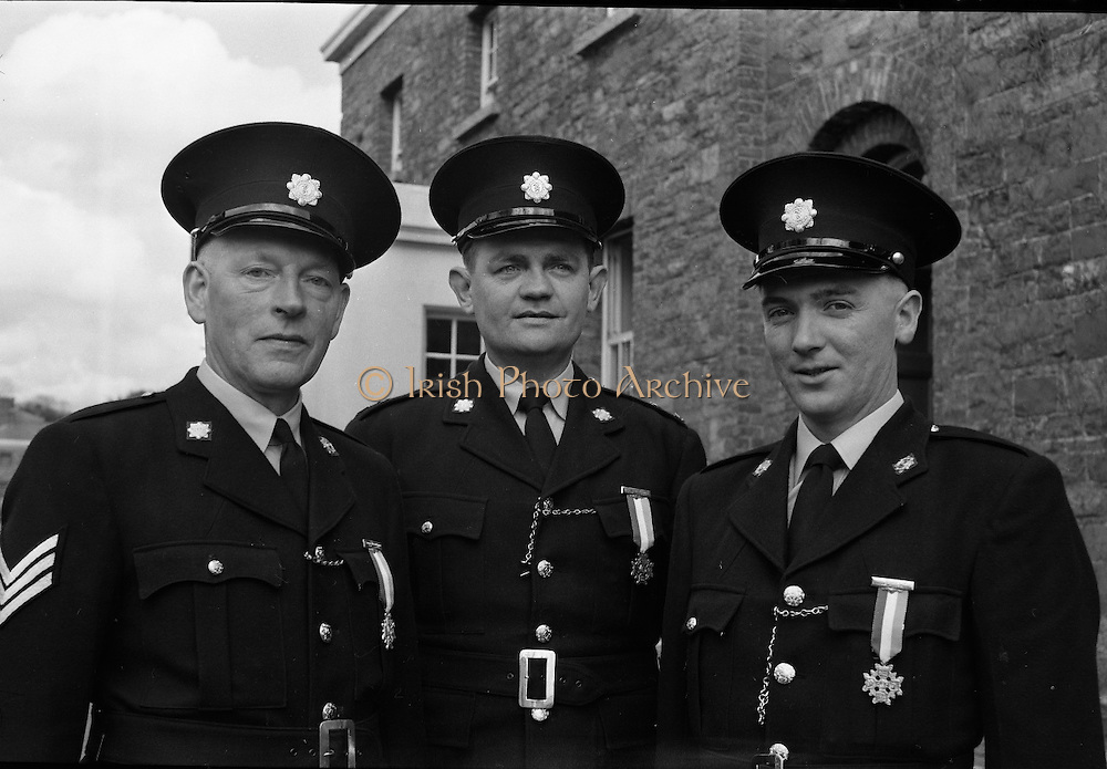 Garda Passing Out Parade and presentation of Scott Medals.  The Scott Medal was presented by the Minister for Justice Mr. Charlie Haughey T.D.  Amongst those who recieved the medals for courageous action were Sergeant William Thorne, Garda John O'Connor and Garda Jeremiah Connolly..04.05.1962