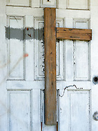 Broken cross on a church destroyed by Hurricane Katriana in the lower 9th ward of New Orleans
