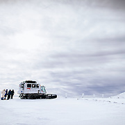 Mount Washington Observatory's snowcat in route to the summit during a winter overnight trip.