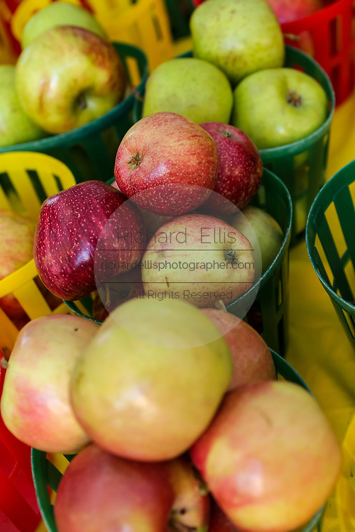 Locally grown apples on display at the Farmers Market along Main Street in downtown Greenville, South Carolina.