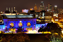 Kansas City skyline with Union Station lit Royal Blue for Kansas City Royals 2014 World Series run.