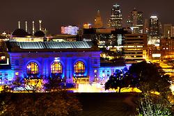 Kansas City skyline with Union Station lit Royal Blue for Kansas City Royals 2014 World Series run.