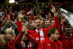 Supporters of Austria celebrate after winning during the 2020 UEFA European Championships group G qualifying match between Slovenia and Austria at SRC Stozice on October 13, 2019 in Ljubljana, Slovenia. Photo by Vid Ponikvar / Sportida