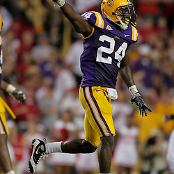 19 September 2009: LSU Tigers linebacker Harry Coleman (24) signals after a turnover on downs by the Louisiana-Lafayette Cajuns during 31-3 win by the LSU Tigers over the University of Louisiana Lafayette Ragin' Cajuns at Tiger Stadium in Baton Rouge, Louisiana.