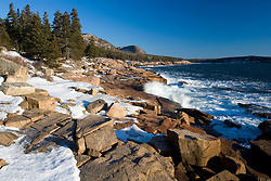 Winter on the rocky coast along Ocean Drive in Maine's Acadia National Park.
