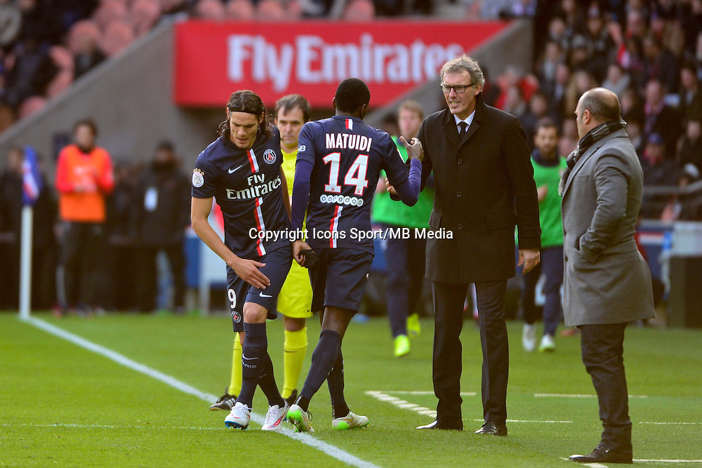 Edinson CAVANI / Blaise MATUIDI / Laurent BLANC - 18.01.2015 - Paris Saint Germain / Evian Thonon - 21eme journee de Ligue 1<br />Photo : Dave Winter / Icon Sport