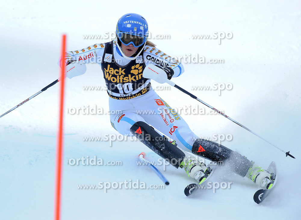 30.11.2014, Aspen Mountain Course, Aspen, USA, FIS Weltcup Ski Alpin, Aspen, Slalom, Damen, 1. Lauf, im Bild Anna Swenn-Larsson (SWE) // Anna Swenn-Larsson of Sweden in action during 1st run of ladies Slalom of FIS Ski Alpine Worldcup at the Aspen Mountain Course in Aspen, Canada on 2014/11/30. EXPA Pictures © 2014, PhotoCredit: EXPA/ Erich Spiess