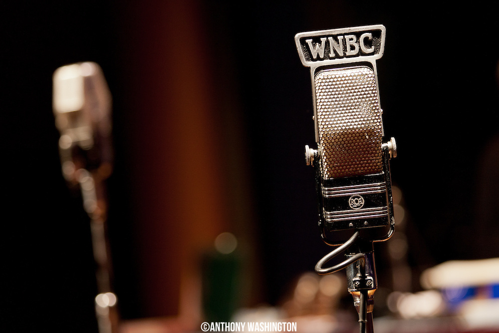 A vintage WNBC microphone at The Big Broadcast 50th Anniversary Celebration at the Lisner Auditorium on Sunday, November 3, 2014 in Washington, DC.
