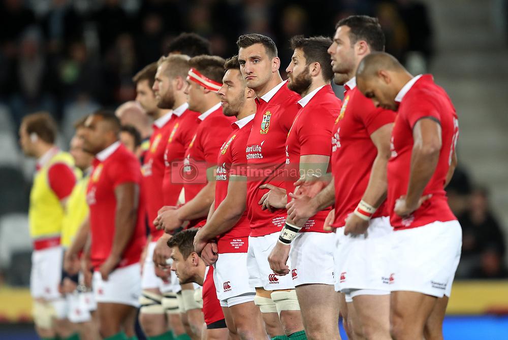 British and Irish Lions' Sam Warburton (centre) during the tour match at Forsyth Barr Stadium, Dunedin.