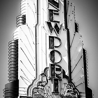 Big Newport Edwards Theater Marquee in Newport Beach. The Big Newport Theatre is located in Fashion Island in Newport Beach Orange County California. Picture is black and white.