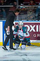 KELOWNA, CANADA - MARCH 14: Kelowna Rockets' athletic therapist Scott Hoyer tends to Jack Cowell #8 of the Kelowna Rockets on the ice against the Prince George Cougars  on March 14, 2018 at Prospera Place in Kelowna, British Columbia, Canada.  (Photo by Marissa Baecker/Shoot the Breeze)  *** Local Caption ***