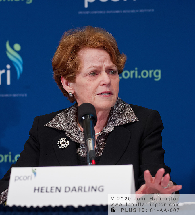 Helen Darling, President and Chief Executive Officer, National Business Group on Health speaks as a part of a panel at the PCORI National Patient and Stakeholder Dialogue at the National Press Club in Washington, DC on February 27th, 2012. The Dialogue aims to increase awareness of PCORI's work and allow the public to comment on their standards, strategies and priorities.