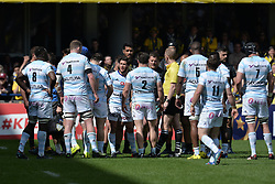 April 1, 2018 - Clermont Ferrand - Stade Marcel, France - Maxime Machenaud et ses coequipiers  (Credit Image: © Panoramic via ZUMA Press)