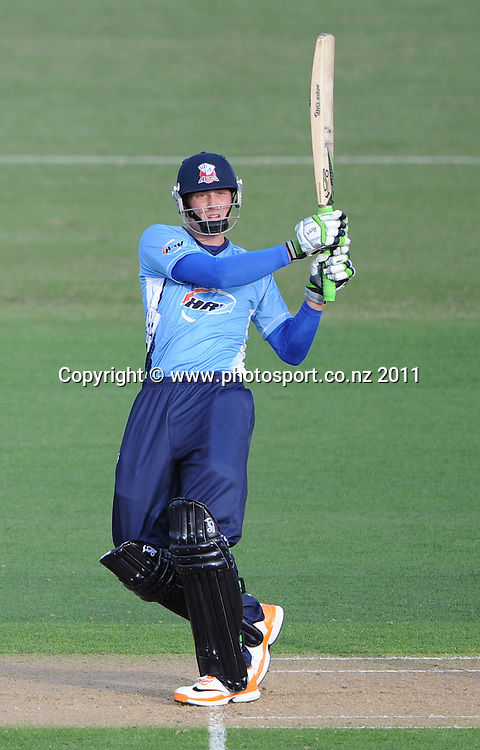 Auckland batsman Martin Guptill in action during the HRV Twenty20 Cricket match between the Auckland Aces and Northern Knights at Colin Maiden Oval in Auckland on Monday 26 December 2011. Photo: Andrew Cornaga/Photosport.co.nz