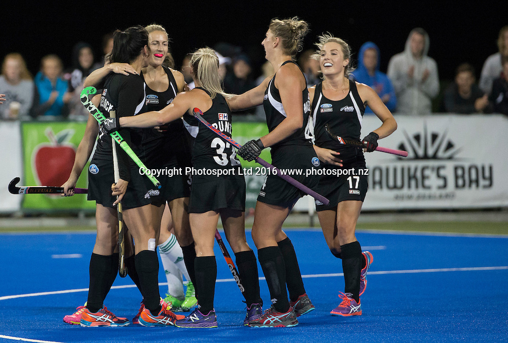 New Zealand celebrate a goal. Black Sticks Women v Ireland. Festival of Hockey, Hastings, Unison Hockey turf, New Zealand. Tuesday, 05 April, 2016. Copyright photo: John Cowpland / www.photosport.nz