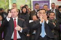 17/05/2015 . H.E. Mr Li Premier of the State Council,  People's Republic of China with AN Taoiseach Enda Kenny TD at the farm of Cathal Garvey from Owner Co. Mayo applauding Trad on the Prom. Photo: Andrews Downes XPOSURE