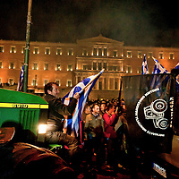 The protesting farmers  to Syntagma Square in Athens