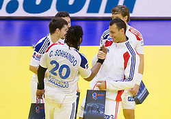 Sorhaindo Cedric and Jerome Fernandez of France after the handball match between France and Iceland in  Main Round of 10th EHF European Handball Championship Serbia 2012, on January 25, 2012 in Spens Hall, Novi Sad, Serbia. (Photo By Vid Ponikvar / Sportida.com)