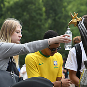 People filling up water at the Green Park fountian as Heatwaves continues in the UK on July 22 2018,  London, UK