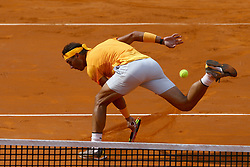 May 20, 2018 - Rome, Italy - RAFAEL NADAL of Spain plays a backhand shot during his Mens Singles final win against A. Zverev on Day Eight of the The Internazionali BNL d'Italia 2018, at Foro Italico. (Credit Image: © Matteo Ciambelli/NurPhoto via ZUMA Press)