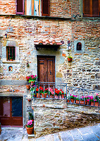 """Front doors 26-28 along Via Roma Cortona""...<br />