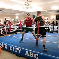 Chris Millar Testimonial Boxing Night at The Salutation Hotel, Perth..15.09.18<br />Kiko Zlatarov (red) of Fair City ABC pictured during is 75kg bout against Scott Moorland of Declaration 1320<br />Picture by Graeme Hart.<br />Copyright Perthshire Picture Agency<br />Tel: 01738 623350  Mobile: 07990 594431
