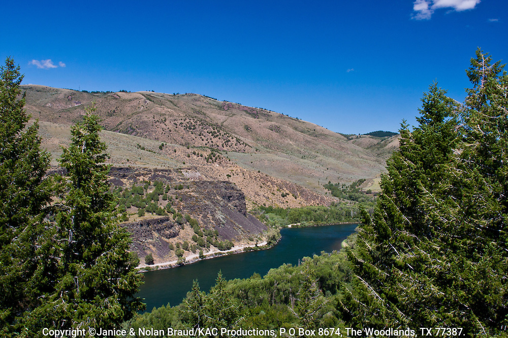 Snake River overlook in southeastern Idaho. The Snake River plays a major role in Idaho farming, because of the necessity of irrigation for farming in land otherwise classified as high desert.