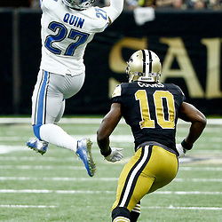 Dec 4, 2016; New Orleans, LA, USA; Detroit Lions free safety Glover Quin (27) intercepts a pass in front of New Orleans Saints wide receiver Brandin Cooks (10) during the second half of a game at the Mercedes-Benz Superdome. The Lions defeated the Saints 28-13.  Mandatory Credit: Derick E. Hingle-USA TODAY Sports