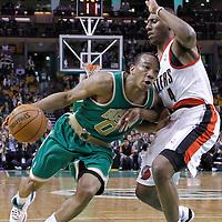 09 March 2012: Boston Celtics shooting guard Avery Bradley (0) drives past Portland Trailblazers guard Nolan Smith (4) during the Boston Celtics 104-86 victory over the Portland Trail Blazers at the TD Banknorth Garden, Boston, Massachusetts, USA.