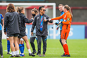 Hope Powell, Head Coach of Brighton & Hove Albion FC Women & Brighton & Hove Albion Goalkeeper Megan Walsh (1) thanking each other at the end of the FA Women's Super League match between Brighton and Hove Albion Women and BIrmingham City Women at The People's Pension Stadium, Crawley, England on 6 September 2020.