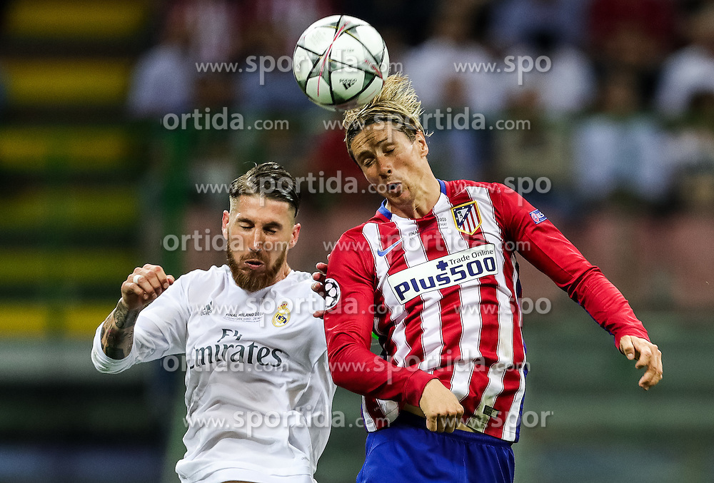 Sergio Ramos of Real Madrid vs Fernando Torres of Atlético during football match between Real Madrid (ESP) and Atlético de Madrid (ESP) in Final of UEFA Champions League 2016, on May 28, 2016 in San Siro Stadium, Milan, Italy. Photo by Vid Ponikvar / Sportida