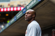 Torii Hunter #48 of the Detroit Tigers looks on during a game against the Minnesota Twins on April 3, 2013 at Target Field in Minneapolis, Minnesota.  The Twins defeated the Tigers 3 to 2.  Photo: Ben Krause