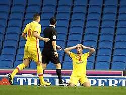 Samir Carruthers of Milton Keynes Dons shows his frustration at not being awarded a penalty - Mandatory byline: Robbie Stephenson/JMP - 07966 386802 - 07/11/2015 - FOOTBALL - Falmer Stadium - Brighton, England - Brighton v MK Dons - Sky Bet Championship