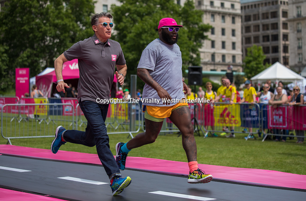 Lord Sebastian Coe at The Sports Zone with the Tumbleator at the Vitality Wellness Festival in Green Park at The Vitality Westminster Mile, Sunday 28th May 2017.<br /> <br /> Photo: Neil Turner for The Vitality Westminster Mile<br /> <br /> For further information: media@londonmarathonevents.co.uk