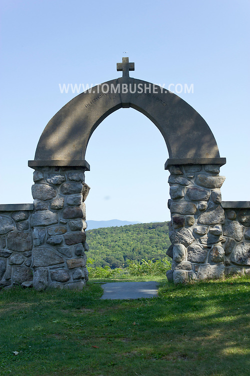 Cragsmoor, New York - The stone arch behind the historic Chapel of the Holy Name, also known as The Stone Church,  on the Shawangunk Ridge on Aug. 30, 2012.