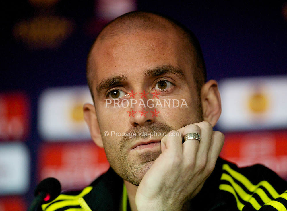 BRAGA, PORTUGAL, Wednesday, March 9, 2011: Liverpool's Raul Meireles during a press conference at the Estadio Municipal de Braga ahead of the UEFA Europa League Round of 16 1st leg match against Sporting Clube de Braga. (Photo by David Rawcliffe/Propaganda)