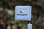 The touch flag with Gallagher branding during the Gallagher Premiership Rugby match between Northampton Saints and Harlequins at Franklins Gardens, Northampton, United Kingdom on 1 November 2019.