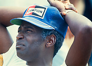 "Actor Cleavon Little on the set of ""Greased Lightning"" - the story of the first African American NASCAR driver - Wendell Scott."
