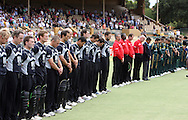Australia and the NZ Black Caps line up for a minutes silence for the victims of the Victoria Bush Fires prior to the start of the 4th one day international cricket match, New Zealand Black Caps v Australia, Chappell Hadlee Series at the Adelaide Oval, Australia, 10 February 2009..Photo: Andrew Cornaga/PHOTOSPORT