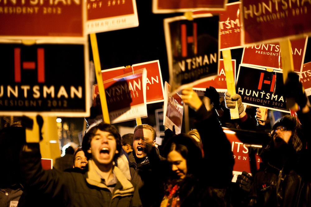Supporters of Republican presidential candidate Jon Huntsman rally outside the site of the WMUR/ABC News Debate at Saint Anselm College on Saturday, January 7, 2012 in Manchester, NH. Brendan Hoffman for the New York Times