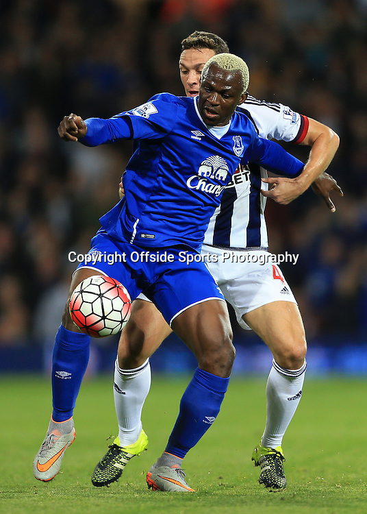 28th September 2015 - Barclays Premier League - West Bromwich Albion v Everton - Arouna Kone of Everton battles with James Chester of West Brom - Photo: Simon Stacpoole / Offside.