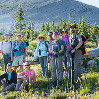 group of hikers in the badger two medicine lead by dropstone outfitting, montana