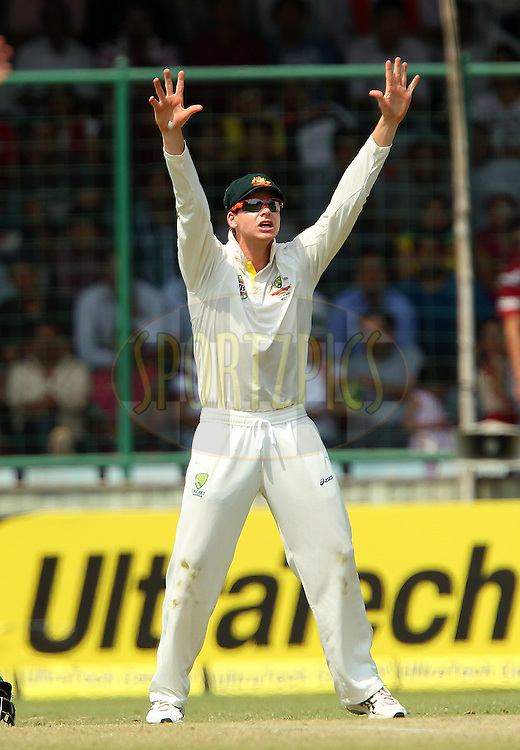 Steven Smith of Australia pleads with the umpire during day 3 of the 4th Test Match between India and Australia held at the Feroz Shah Kotla stadium in Delhi on the 24th March 2013..Photo by Ron Gaunt/BCCI/SPORTZPICS ..Use of this image is subject to the terms and conditions as outlined by the BCCI. These terms can be found by following this link:..http://www.sportzpics.co.za/image/I0000SoRagM2cIEc