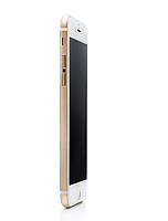 Gold white Apple iPhone 6 6s standing at an angle, side view isolated on white background with clipping path