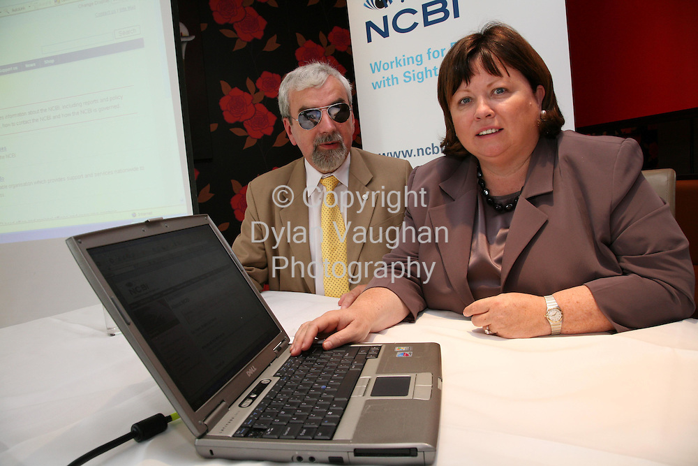 12/10/2006.Minister for Health launches new website for he blind on World Sight Day..Free picture no charge for use..Minister for Health And Children, Mary Harney, TD, oday launched the new NCBI website and unveiled the charity's new logo to mark World Sight Day for the first time in Ireland..Pictured at the launch at the Lyrath Estate Hotel in Kikenny is The Minister Mary Harney and Des Kenny Chief Executive of the NCBI..Picture Dylan Vaughan.