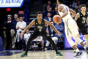 Green Bay guard PJ Pipes (2) guards Xavier guard Quentin Goodin (3) during an NCAA college basketball game, Wednesday, Dec. 4, 2019, in Cincinnati. Xavier defeated Green Bay 84-71 (Jason Whitman/Image of Sport)