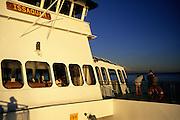 Image of Washington State Ferry enroute from Vashon Island to West Seattle on Puget Sound with Mt. Rainier, Seattle, Washington, Pacific Northwest