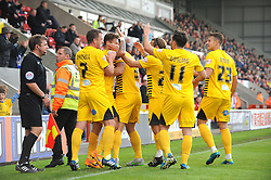 Bristol Rovers celebrates- the goal from Matty Taylor - Mandatory byline: Neil Brookman/JMP - 07966 386802 - 03/10/2015 - FOOTBALL - Globe Arena - Morecambe, England - Morecambe FC v Bristol Rovers - Sky Bet League Two